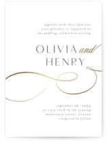 This is a white petite wedding invitation by Jen Banks of Ink and Letter called Forever And with foil-pressed printing on signature in petite.