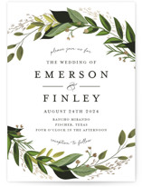 This is a green petite wedding invitation by Susan Moyal called Vines of Green with foil-pressed printing on signature in petite.
