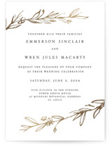 This is a gold petite wedding invitation by Mere Paper called Metallic Branches with foil-pressed printing on signature in petite.