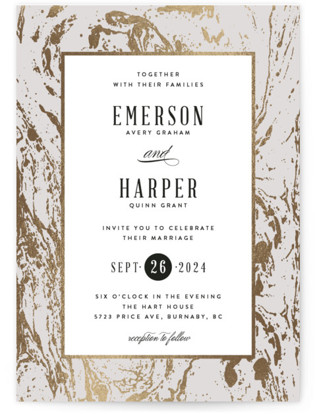 photo of Modern Marble Foil Pressed Wedding Invitation Petite Cards