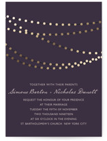 This is a purple petite wedding invitation by Design Lotus called Midnight Vineyard with foil-pressed printing on signature in petite.