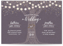 This is a purple petite wedding invitation by Hooray Creative called Garden Lights with foil-pressed printing on signature in petite.