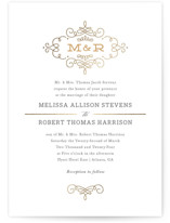 This is a gold petite wedding invitation by Kristen Smith called Ornate Monogram with foil-pressed printing on signature in petite.