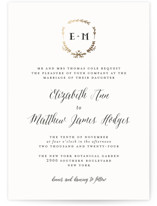 This is a black and white petite wedding invitation by Susan Brown called Always with foil-pressed printing on signature in petite.