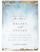 This is a blue petite wedding invitation by Everett Paper Goods called Ethereal Wash with foil-pressed printing on signature in petite.