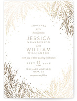 This is a gold petite wedding invitation by Phrosne Ras called Botanical Filigree with foil-pressed printing on signature in petite.