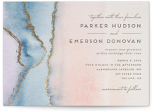 This is a pink petite wedding invitation by Petra Kern called Simple Agate with foil-pressed printing on signature in petite.