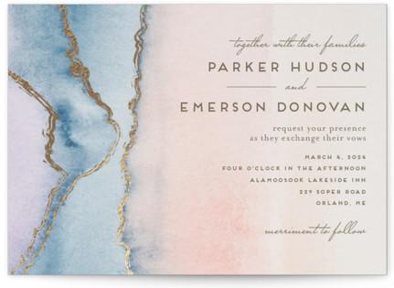 Simple Agate Foil-Pressed Wedding Invitation Petite Cards