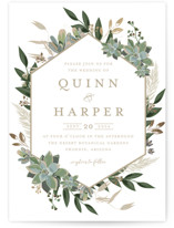 This is a green petite wedding invitation by Susan Moyal called Succulent Surround with foil-pressed printing on signature in petite.