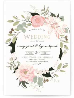 photo of Petal Surround Foil Pressed Wedding Invitation Petite Cards