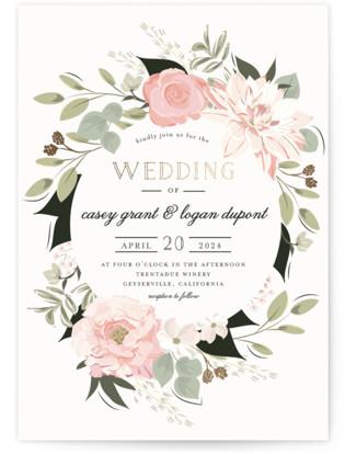 photo of Petal Surround Foil Pressed Wedding Invitation Petite Cards