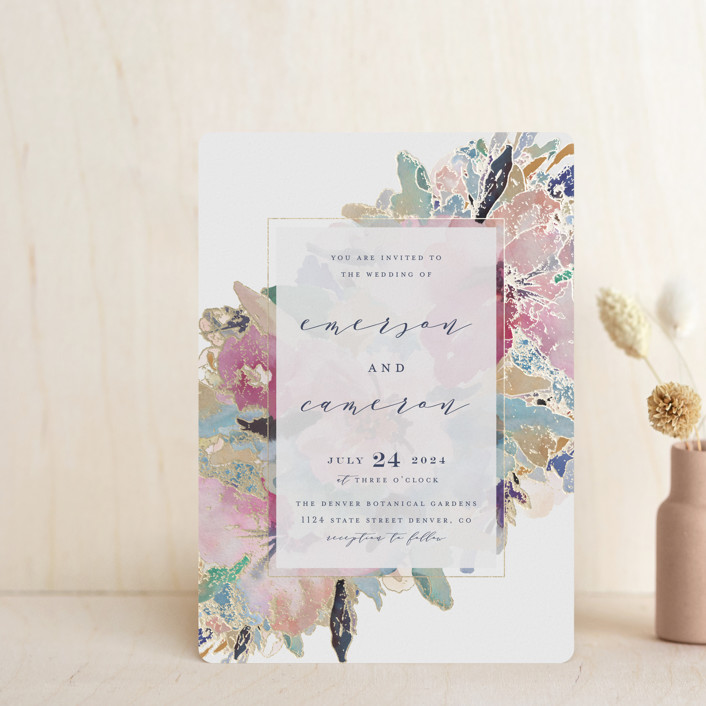 """Gilded Drape"" - Foil-pressed Wedding Invitation Petite Cards in Fruitcake by Grace Kreinbrink."