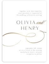 This is a white foil stamped wedding invitation by Jen Banks of Ink and Letter called Forever And with foil-pressed printing on signature in standard.