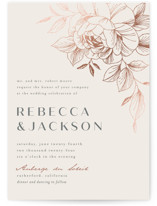 This is a beige foil stamped wedding invitation by Stardust Design Studio called Lovely with foil-pressed printing on signature in standard.