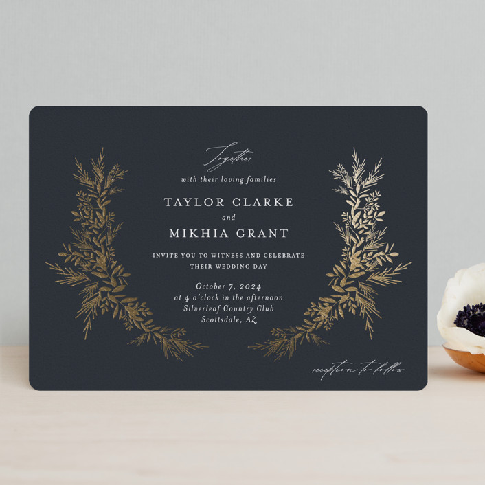 """""""etched wreath"""" - Foil-pressed Wedding Invitations in Inkwell by Jennifer Postorino."""