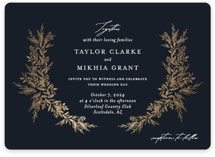 This is a blue foil stamped wedding invitation by Jennifer Postorino called etched wreath with foil-pressed printing on signature in standard.