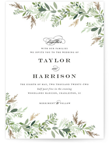 This is a portrait botanical, rustic, green Wedding Invitations by Jennifer Postorino called Trailing Vine with Foil Pressed printing on Signature in Classic Flat Card format. Beautiful hand drawn trailing greenery softly surrounds classic type in this airy wedding invitation. ...