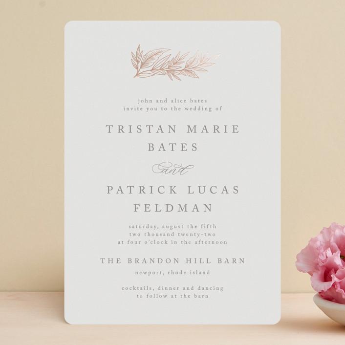 """Rustic Sprig"" - Foil-pressed Wedding Invitations in Rose by Katharine Watson."