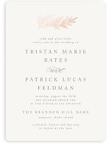 This is a pink foil stamped wedding invitation by Katharine Watson called Rustic Sprig with foil-pressed printing on signature in standard.