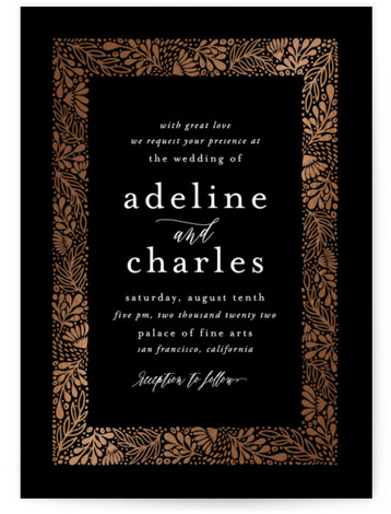 This is a portrait botanical, rustic, black Wedding Invitations by Cat Caudillo called Adeline with Foil Pressed printing on Signature in Classic Flat Card format. This wedding design features an ornate border of hand drawn botanicals.