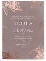 This is a brown foil stamped wedding invitation by Lori Wemple called autumne with foil-pressed printing on signature in standard.