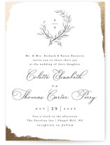 This is a black foil stamped wedding invitation by Pink House Press called Gilded Edge with foil-pressed printing on signature in standard.
