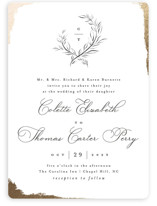 This is a white foil stamped wedding invitation by Pink House Press called Gilded Edge with foil-pressed printing on signature in standard.