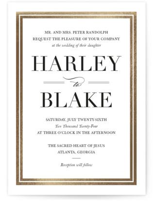 Gilded Frame Foil-Pressed Wedding Invitations