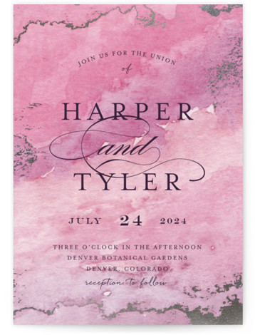This is a portrait bohemian, rustic, pink Wedding Invitations by Grace Kreinbrink called Gilded Shore with Foil Pressed printing on Signature in Classic Flat Card format. Hand painted watercolor in muted earthy tones wit accents of gold foil create a ...