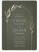 This is a green foil stamped wedding invitation by Kelly Schmidt called Botanical Arches with foil-pressed printing on signature in standard.