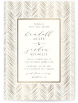 This is a brown foil stamped wedding invitation by Carolyn Nicks called elegant herringbone with foil-pressed printing on signature in standard.