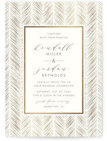 This is a beige foil stamped wedding invitation by Carolyn Nicks called elegant herringbone with foil-pressed printing on signature in standard.