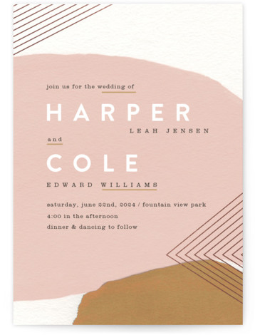 This is a portrait funny, hand drawn, modern, pink Wedding Invitations by Moglea called Artful Oneness with Foil Pressed printing on Signature in Classic Flat Card format. Bolding painted strokes and modern type