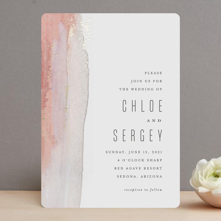 """Painted Desert"" - Foil-pressed Wedding Invitations in Sandstone by Hooray Creative."