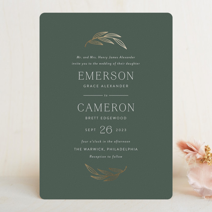"""complete"" - Foil-pressed Wedding Invitations in Juniper by Susan Asbill."