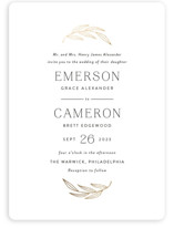 This is a white foil stamped wedding invitation by Susan Asbill called complete with foil-pressed printing on signature in standard.