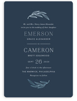 This is a blue foil stamped wedding invitation by Susan Asbill called complete with foil-pressed printing on signature in standard.