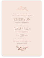 This is a pink foil stamped wedding invitation by Susan Asbill called complete with foil-pressed printing on signature in standard.