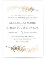 This is a green foil stamped wedding invitation by Erin Deegan called Simple Sprigs with foil-pressed printing on signature in standard.
