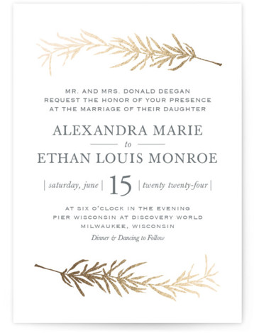 This is a portrait botanical, illustrative, rustic, green, gold Wedding Invitations by Erin Deegan called Simple Sprigs with Foil Pressed printing on Signature in Classic Flat Card format. Simple and traditional wedding invitation featuring sprigs of rosemary.