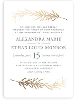 This is a grey foil stamped wedding invitation by Erin Deegan called Simple Sprigs with foil-pressed printing on signature in standard.