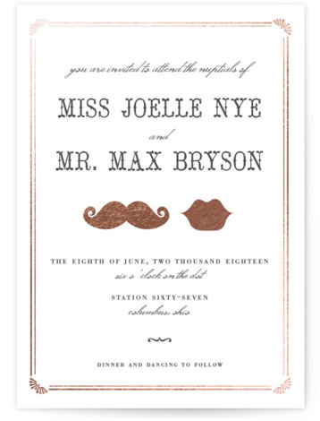 This is a landscape, portrait illustrative, offbeat, vintage, whimsical, black and white Wedding Invitations by Penelope Poppy called Stache + Kiss with Foil Pressed printing on Signature in Classic Flat Card format. Super fun Wedding Invitation featuring a super awesome ...