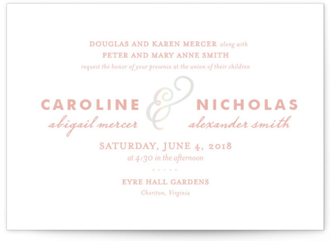This is a landscape classical, elegant, simple, rosegold Wedding Invitations by Olivia Raufman called Delicate Ampersand with Foil Pressed printing on Signature in Classic Flat Card format. A classic die cut shape and a mix of typography styles bring modern ...