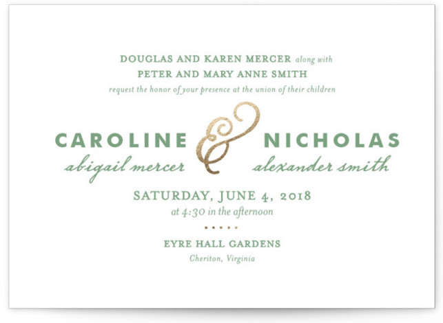 This is a landscape classical, elegant, simple, gold Wedding Invitations by Olivia Raufman called Delicate Ampersand with Foil Pressed printing on Signature in Classic Flat Card format. A classic die cut shape and a mix of typography styles bring modern ...