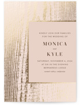 This is a pink foil stamped wedding invitation by Robin Ott called barn door with foil-pressed printing on signature in standard.