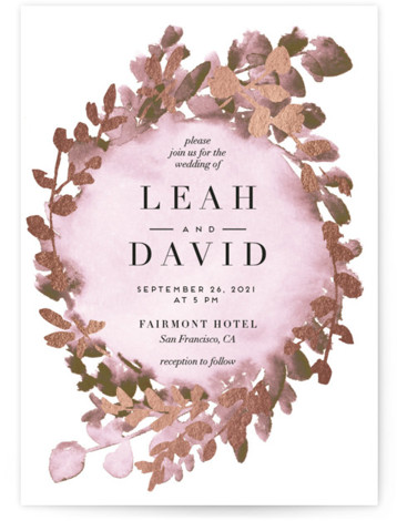 This is a portrait botanical, painterly, pink Wedding Invitations by Petra Kern called Gilded Mod Wreath with Foil Pressed printing on Signature in Classic Flat Card format. A modern wedding invitation inspired by greenery and succulents with a touch of ...