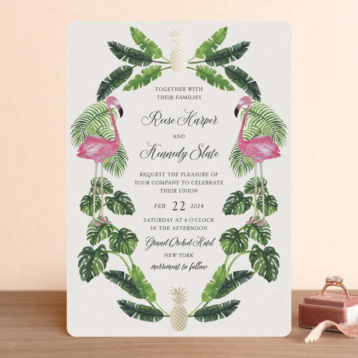 """""""Tropical"""" - Foil-pressed Wedding Invitations in Tropical by Elly."""