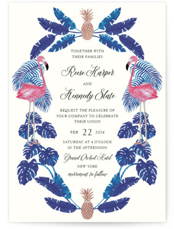 This is a portrait beach, floral, hand drawn, blue, pink, rosegold Wedding Invitations by Elly called Tropical with Foil Pressed printing on Signature in Classic Flat Card format. A fun and kitschy tropical themed illustration painted with watercolour with a ...