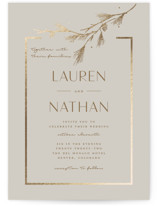 This is a grey foil stamped wedding invitation by Susan Brown called Burnished with foil-pressed printing on signature in standard.