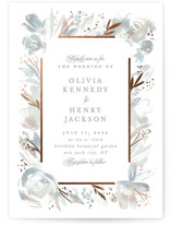 This is a grey foil stamped wedding invitation by Creo Study called Blooming border with foil-pressed printing on signature in standard.